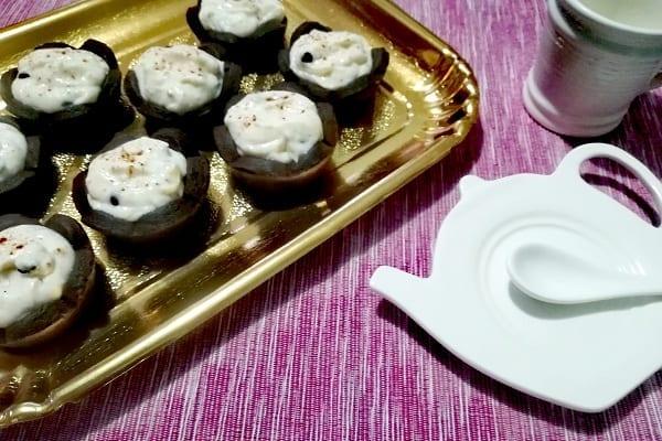 Crostatine al cioccolato con crema ricotta