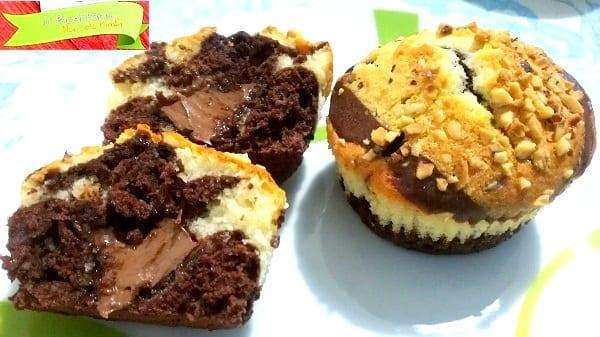 Muffin bicolore allo yogurt