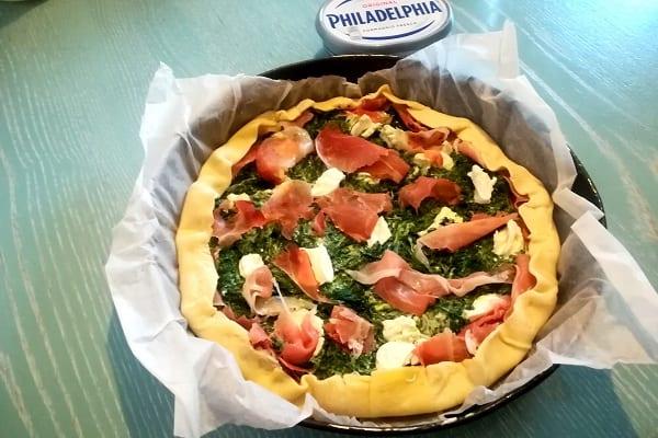 Torta salata con philadelphia e spinaci 2