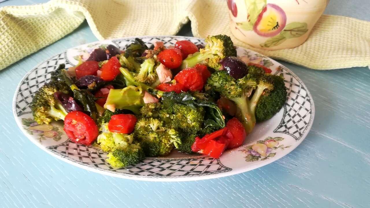 Broccoli con olive e pomodorini Bimby 4