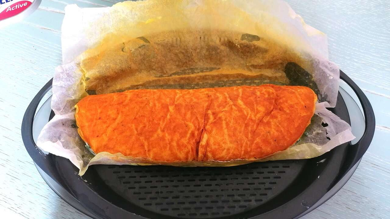 Rotolo di frittata di zucca e spinaci Bimby 5